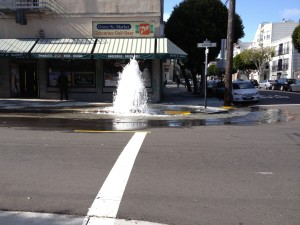 When a hydrant fails, the pressure in the main creates a waterspout.
